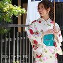 浴衣 レディース セット レトロ 染色&生地が日本製 高級変わり織り浴衣3点セット「ベージュ地に椿」