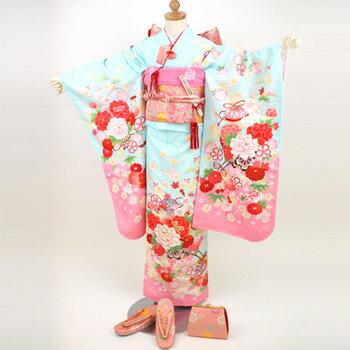 【レンタル】 七五三 着物 レンタル 7歳 七五三 四つ身 お正月雛祭り 着物 着物フルセット 水色地に花車、桜、うさぎ きもの 水色 ピンク 花柄
