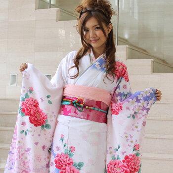 【レンタル】振袖 レンタル 成人式 セット 20点フルセット 「白 青 ピンク 牡丹 花」 成人式から結婚式やフォーマルまで 着物 kimono フリソデ ふりそで rental れんたる せいじんしき セイジンシキ バッグ bag〔消費税込み〕