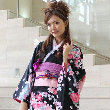 【レンタル】振袖 レンタル 成人式 セット 20点フルセット 「黒 ピンク 花」 成人式から結婚式やフォーマルまで 着物 kimono フリソデ ふりそで rental れんたる せいじんしき セイジンシキ バッグ bag〔消費税込み〕
