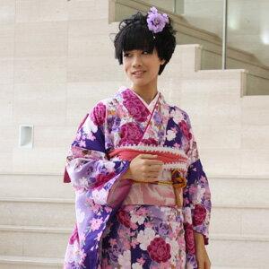 【最大1000円OFFクーポン】【レンタル】振袖 レンタル セット20点フルセット「紫 パープル ピンク ローズ 白 ホワイト 薔薇 バラ 桜」2月〜12月上旬 成人式から結婚式やフォーマルまで。 着物 kimono フリソデ ふりそで rental れんたる 【fy16REN07】〔消費税込み〕
