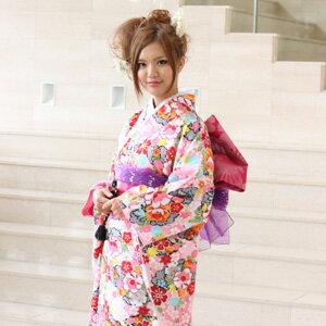 【レンタル】振袖 レンタル 成人式 セット正絹京友禅 20点フルセット「ピンク 赤 レッド 黒 ブラック 黄色 牡丹 梅 絞り調」成人式から結婚式やフォーマルまで 着物 kimono フリソデ ふりそで rental バッグ bag za4〔消費税込み〕