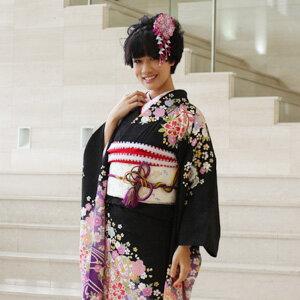 【レンタル】振袖 レンタル 成人式 セット20点フルセット「黒 ブラック 紫 パープル 桜 鞠」成人式から結婚式やフォーマルまで 着物 kimono フリソデ ふりそで rental れんたる せいじんしき セイジンシキ バッグ bag〔消費税込み〕