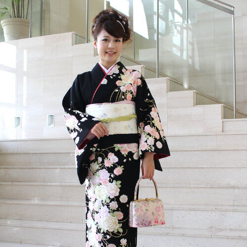 【レンタル】訪問着 レンタル za2 訪問着+和装小物 フルセットレンタル 安い 黒 薔薇と桜卒業式 祝賀会 式典 結婚式 パーティー 袋帯 着物 kimono rental〔消費税込み〕