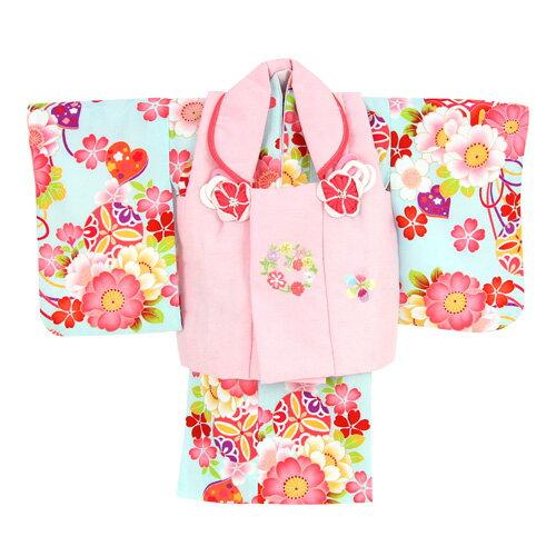 【レンタル】【ひな祭り】 1歳用着物 レンタル 祝着 1歳 女の子 七五三 着物 二部式着物 被布セット「水色地に八重桜とリボン(被布:ピンク)」往復送料無料 初節句〔消費税込み〕
