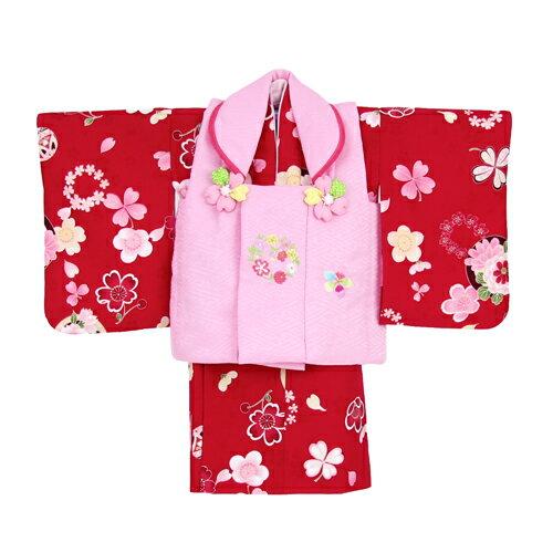 【レンタル】【ひな祭り】 1歳用着物 レンタル 祝着 1歳 女の子 七五三 着物 二部式着物 被布セット「赤地に小鞠・桜にクローバー(被布:ピンク)」往復送料無料 初節句〔消費税込み〕