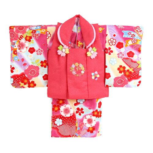 【レンタル】【ひな祭り】 1歳用着物 レンタル 祝着 1歳 女の子 七五三 着物 二部式着物 被布セット「ピンク・紫・黄色・水色のぼかし地に花帯(被布:赤)」往復送料無料 初節句〔消費税込み〕