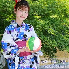 浴衣レトロセット高級変わり織り綿浴衣3点セット「白地地に青の椿と紫の葉」浴衣白地椿青