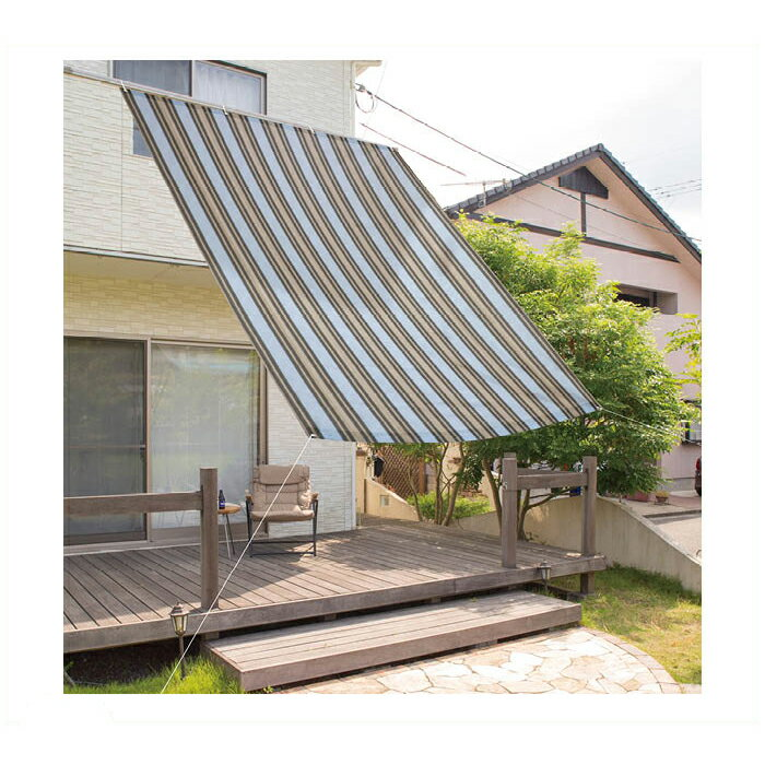 【日よけ・オーニング特集】サンシェードストライプ ブルー&グレー 2x3m NFC-W30BG