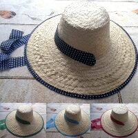 晒 ヘリ巻 帽子 女 (麦わら帽子)農作業 帽子 おしゃれ