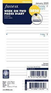 《週間》FILOFAX 2020年 システム手帳リフィル バイブルサイズ 見開き1週間 月-日 (罫線入) 20-68418(ファイロファックス)