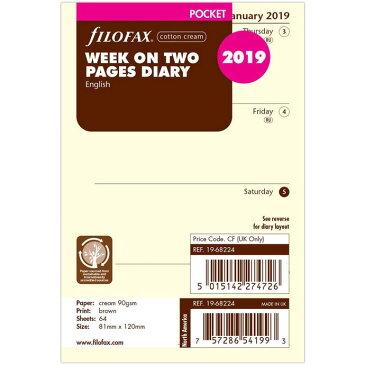 FILOFAX 2019年 ミニ6穴サイズ 見開き1週間 月-日(コットンクリーム) システム手帳リフィル 19-68224