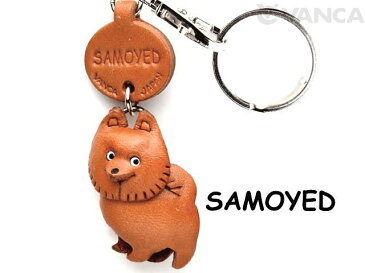 VANCA CRAFT 本革製 サモエド 犬キーホルダー ドコデモワンちゃん
