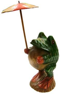 かわいい瞳の傘もちカエル(L)-アジアン雑貨-