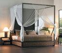 天蓋付ベッドで高級リゾートホテルの様な寝室を!アジアン家具の王様ウォーターヒヤシンス/アジ...