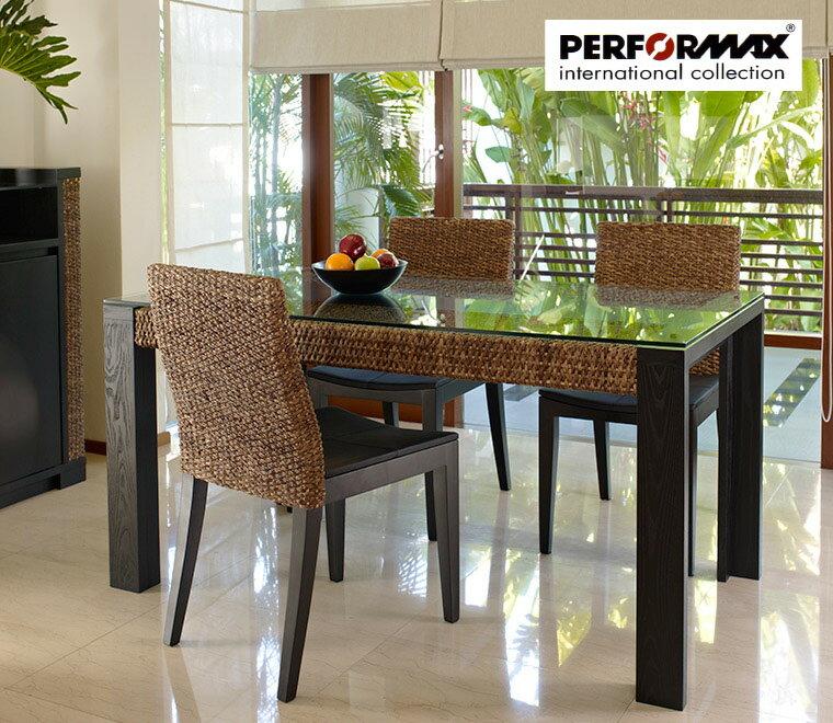 高品質ウォーターヒヤシンス家具/PERFORMAXウォーターヒヤシンス ダイニングテーブル(PDT13)&本革張りチェア(PC11) or クッション張り(PC12)4脚 選択ダイニングセット アジアン リゾート ホテル バリ(在庫販売品・即納可能)