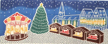 にじゆら 注染絵手拭い 「クリスマスマーケット」【メール便OK】