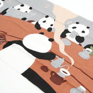 ほっと一息、コーヒータイム。【メール便OK】濱文様 捺染絵手拭い 「パンダカフェ」 【RCP】...