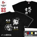 漢字 Tシャツ 風神雷神デザイン S/M/L/XL 黒/白/赤/青/黄 メール便対応 日本土産 お土産 和柄 プレゼント オリジナルtシャツ