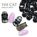 メタルパーツ ネイルジュエリー ネイルパーツ ( ブラック ) 猫の顔...