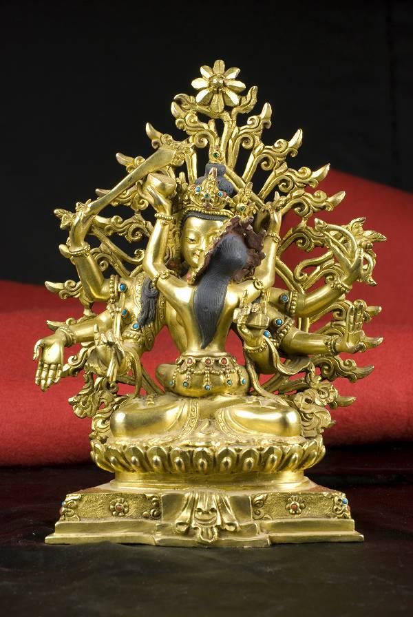 文殊シャクティ(歓喜仏)銅造 鍍金 彫金仕上げ 一点もの