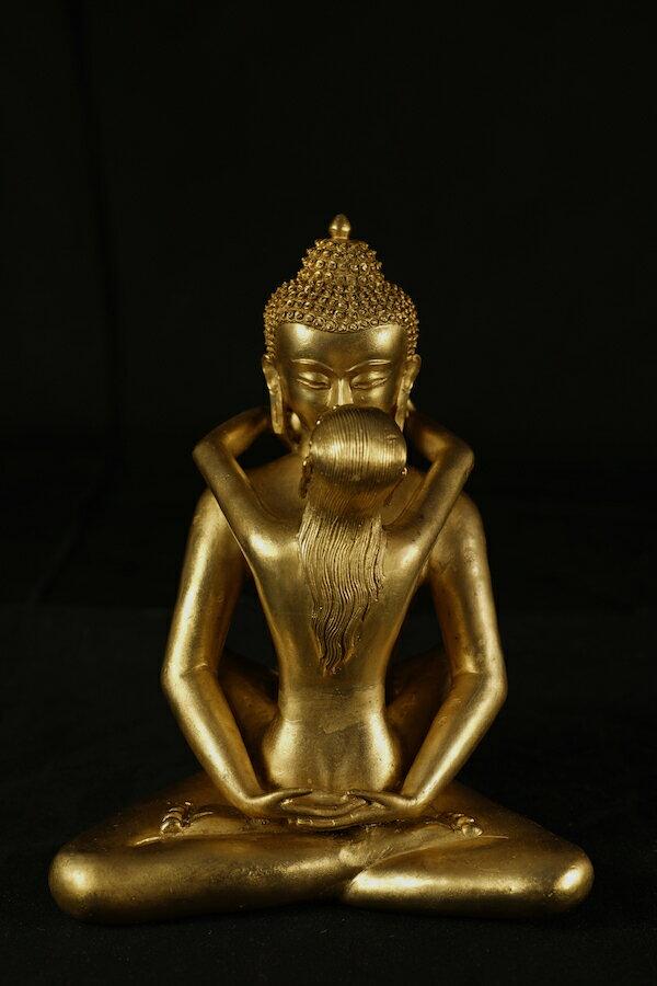 歓喜仏(ヤブユム)銅造金色