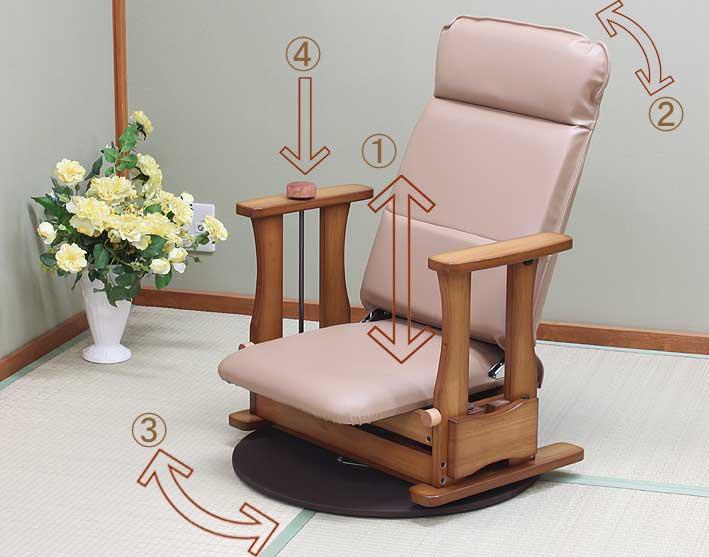 国産 中居木工 回転・リクライニング機能(4段階切替え) 木製 起立補助椅子 ロータイプDX回転付き:中居木工
