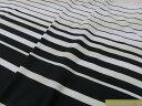 綿ボーダーニット生地白x黒