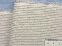綿麻ストライプ生地(やや厚)薄藤×白