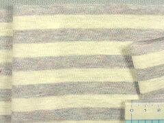 綿ボーダーニット生地ブルーグレーx白