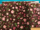 ラミネート生地(ツヤなし)花コゲ茶×ピンク系