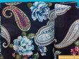 綿シングルガーゼプリント生地花/ペイズリー紺×ブルー