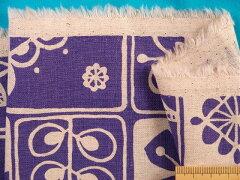 綿麻キャンバス生地植物・生成り×紫