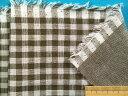 綿ダブルガーゼ生地チェックオフ白×モスグリン