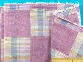 綿ダブルガーゼ生地パッチワーク柄・紫系×ベージュ