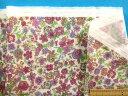 綿ダブルガーゼ生地花・オフ白×紫ピンク(110cm幅 1m)