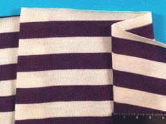 綿ボーダーニット生地紫×生成り