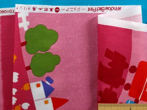 綿プリント生地汽車ピンク系×赤×青(105m幅 2m)