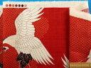 綿和柄プリント生地(サザンクロス)鶴・赤×薄アイボリー