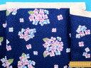 綿サッカー生地花・紺×紫