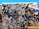 綿ローンプリント生地植物/カメレオン黒×薄茶(105cm幅 ...