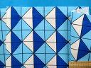 綿プリントオックス生地水×ブルー(110cm幅 1m) 1