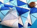 綿プリントオックス生地水×ブルー(110cm幅 1m) 2
