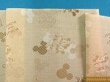 綿プリント生地〈少々難あり〉ベージュ系×薄茶(110cm幅 2m)