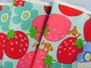 綿プリントオックス生地大きなイチゴと小さなクマベビーブルー