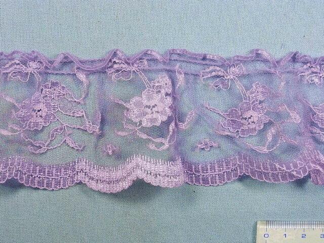 ラッセルギャザーレース紫(6.5cm幅 4m巻)