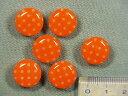 プリントボタン(水玉 15mm)オレンジ