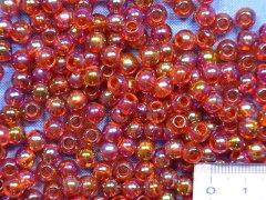 プラ丸ビーズ(6mm)赤