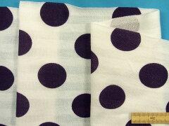 綿プリントカノコニット生地(ボーダー・水玉)白×紫