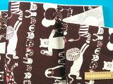 在庫処分・大幅値下げ綿プリントオックス生地アニマル・コゲ茶(110cm幅 1m)